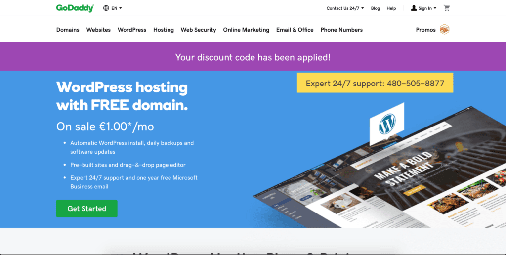 GoDaddy offers affordable WordPress hosting